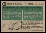 1958 Topps #12  Elmer Vasko  Back Thumbnail