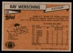 1981 Topps #36  Ray Wersching  Back Thumbnail