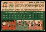 1954 Topps #201  Al Kaline  Back Thumbnail