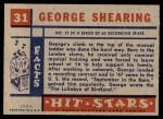1957 Topps Hit Stars #31  George Shearing  Back Thumbnail