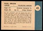 1961 Fleer #45   -  Paul Arizin In Action Back Thumbnail