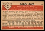 1953 Bowman #38  Harry Byrd  Back Thumbnail