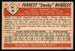 1953 Bowman #28  Smoky Burgess  Back Thumbnail