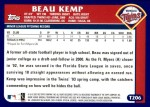2003 Topps Traded #206 T  -  Beau Kemp First Year Back Thumbnail