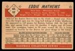 1953 Bowman #97  Eddie Mathews  Back Thumbnail