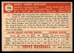 1952 Topps #176 CRM Hank Edwards  Back Thumbnail