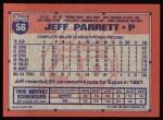 1991 Topps #56  Jeff Parrett  Back Thumbnail