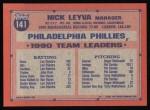 1991 Topps #141  Nick Leyva  Back Thumbnail