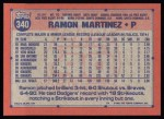 1991 Topps #340  Ramon Martinez  Back Thumbnail