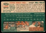 1954 Topps #127  Steve O'Neill  Back Thumbnail