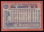 1991 Topps #654  Paul Sorrento  Back Thumbnail