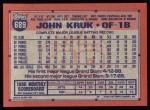 1991 Topps #689  John Kruk  Back Thumbnail