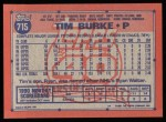 1991 Topps #715  Tim Burke  Back Thumbnail