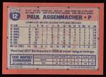1991 Topps #12  Paul Assenmacher  Back Thumbnail