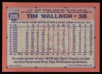 1991 Topps #220  Tim Wallach  Back Thumbnail