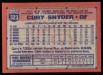 1991 Topps #323  Cory Snyder  Back Thumbnail