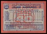 1991 Topps #548  Jaime Navarro  Back Thumbnail
