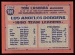 1991 Topps #789  Tommy Lasorda  Back Thumbnail