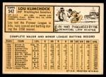 1963 Topps #542  Lou Klimchock  Back Thumbnail