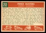 1959 Topps #212   -  Hank Aaron / Eddie Mathews Fence Busters Back Thumbnail