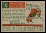 1959 Topps #136  Jim O'Toole  Back Thumbnail