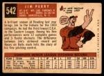 1959 Topps #542  Jim Perry  Back Thumbnail