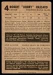 1953 Parkhurst #4  Bob Hassard  Back Thumbnail