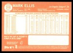 2013 Topps Heritage #310  Mark Ellis  Back Thumbnail