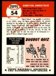 1953 Topps Archives #54  Bob Feller  Back Thumbnail