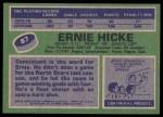 1976 Topps #87  Ernie Hicke  Back Thumbnail