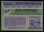 1976 Topps #14  Jean Pronovost  Back Thumbnail