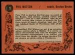 1961 Topps #1  Phil Watson  Back Thumbnail