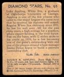 1935 Diamond Stars #95  Luke Appling   Back Thumbnail