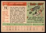 1955 Topps #73  Jack Shepard  Back Thumbnail