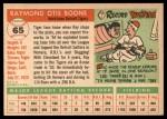 1955 Topps #65  Ray Boone  Back Thumbnail