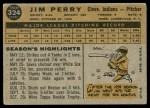 1960 Topps #324  Jim Perry  Back Thumbnail