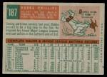 1959 Topps #187  Bubba Phillips  Back Thumbnail