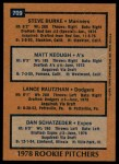 1978 Topps #709   -  Steve Burke / Matt Keough / Lance Rautzhan / Dan Schatzeder Rookie Pitchers   Back Thumbnail