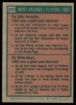 1975 Topps #203   -  Willie Mays / Zoilo Versalles 1965 MVPs Back Thumbnail