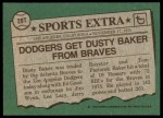 1976 Topps Traded #28 T Dusty Baker  Back Thumbnail