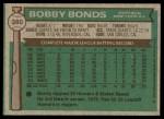 1976 Topps #380  Bobby Bonds  Back Thumbnail