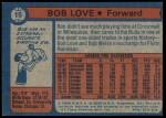 1974 Topps #15  Bob Love  Back Thumbnail