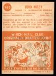 1963 Topps #163  John Nisby  Back Thumbnail