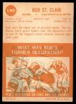 1963 Topps #140  Bob St. Clair  Back Thumbnail