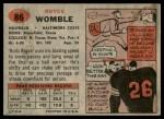 1957 Topps #86  Royce Womble  Back Thumbnail
