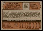 1972 Topps #744  Jim Slaton  Back Thumbnail
