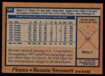 1978 Topps #165  Rennie Stennett  Back Thumbnail