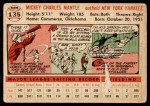 1956 Topps #135 WHT Mickey Mantle  Back Thumbnail