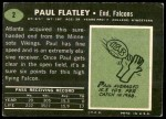 1969 Topps #2  Paul Flatley  Back Thumbnail