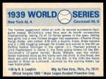1970 Fleer World Series #36   1939 Yankees vs. Reds Back Thumbnail